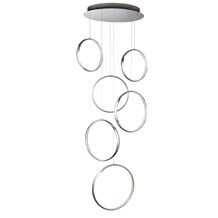 RINGS 6 LED CEILING MULTI-DROP, CHROME, CLEAR CRYSTAL