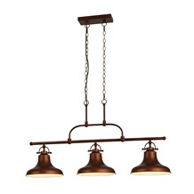 DALLAS 3LT INDUSTRIAL BAR PENDANT, ANTIQUE BROWN