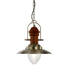 FISHERMAN 1LT PENDANT - ANTIQUE BRASS WITH DARK WOOD FINISH