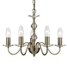MONARCH - 5LT CEILING, ANTIQUE BRASS WITH STACK CLEAR GLASS BALLS & GLASS SCONCE