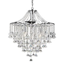 DORCHESTER - 5LT CEILING, CHROME WITH CLEAR CRYSTAL BUTTONS & PYRAMID DROPS