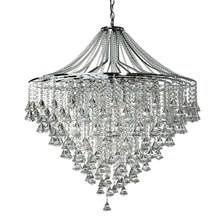 DORCHESTER - 7LT CEILING, CHROME WITH CLEAR CRYSTAL BUTTONS & PYRAMID DROPS