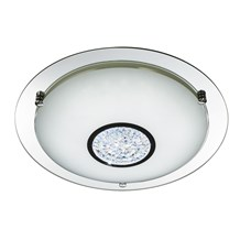BATHROOM IP44 LED FLUSH (Dia 31cm) CHROME,MIRROR HALO, WHT GLS SHADE, CRYSTAL IN