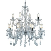 MARIE THERESE - 12LT CHANDELIER, CHROME, CLEAR CRYSTAL GLASS