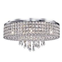 ORION - 9LT CEILING FLUSH, CHROME WITH CLEAR CRYSTAL GLASS BUTTON INSERTS & DROP