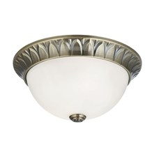 FLUSH - 2LT FLUSH, ANTIQUE BRASS, RIDGE DETAILED TRIM WITH FROSTED GLASS SHADE D