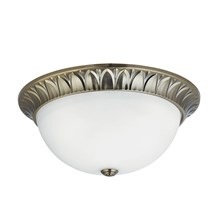 FLUSH - 3LT FLUSH, ANTIQUE BRASS, RIDGE DETAILED TRIM WITH FROSTED GLASS SHADE D