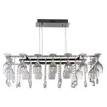 VINO 10LT DECORATIVE CEILING - CHROME & CRYSTAL BUTTONS/PEAR-DROPS & WINE GLASS