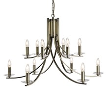 ASCONA - 12LT CEILING, ANTIQUE BRASS TWIST FRAME WITH CLEAR GLASS SCONCES
