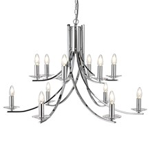ASCONA - 12LT CEILING, CHROME TWIST FRAME WITH CLEAR GLASS SCONCES