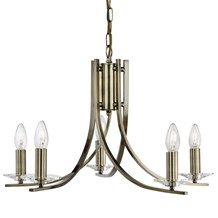 ASCONA - 5LT CEILING, ANTIQUE BRASS TWIST FRAME WITH CLEAR GLASS SCONCES
