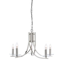 ASCONA - 5LT CEILING, SATIN SILVER TWIST FRAME, CLEAR GLASS SCONCES