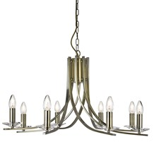 ASCONA - 8LT CEILING, ANTIQUE BRASS TWIST FRAME WITH CLEAR GLASS SCONCES