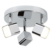 QUAD (DIM) 3LT LED SQUARE HEAD SPOT PLATE, CHROME