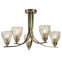 ASCONA II - 5LT CEILING S/FLUSH, ANTIQUE BRASS TWIST FRAME, CLEAR TWISTED GLASS