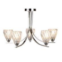 ASCONA II - 5LT CEILING S/FLUSH, CHROME TWIST FRAME, CLEAR TWISTED GLASS SHADES
