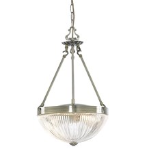 WINDSOR II - 2LT PENDANT, ANTIQUE BRASS, CLEAR RIBBED GLASS