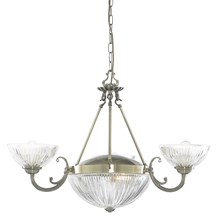 WINDSOR II - 5LT CEILING, ANTIQUE BRASS, CLEAR RIBBED GLASS