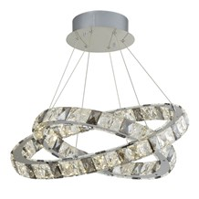 OPTICA 2 RING LED PENDANT, CLEAR & SMOKEY CRYSTAL