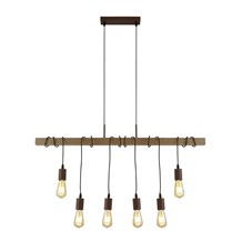 BARN 6LT PENDANT WITH WOOD, BROWN/BLACK