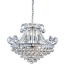 BLOOMSBURY 6LT CRYSTAL TIERED CHANDELIER, CHROME, CLEAR CRYSTAL DECO