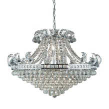 BLOOMSBURY 8LT CRYSTAL TIERED CHANDELIER, CHROME, CLEAR CRYSTAL DECO
