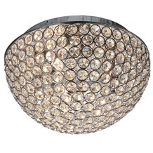 CHANTILLY - 3LT DOME CEILING FLUSH, CHROME WITH CLEAR CRYSTAL BUTTONS INSERTS -