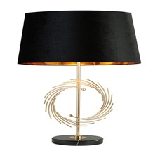 ROMAN TABLE LAMP WITH MARBLE BASE, GOLD WITH BLACK SHADE, GOLD INTERIOR
