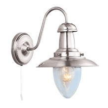 FISHERMAN SATIN SILVER WALL LIGHT WITH SEEDED GLASS