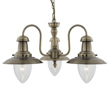 FISHERMAN - 3LT CEILING, ANTIQUE BRASS WITH SEEDED GLASS SHADES