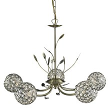 BELLIS II - 5LT CEILING, ANTIQUE BRASS, CLEAR GLASS DECO SHADE
