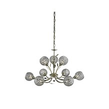 BELLIS II - 9LT CEILING, ANTIQUE BRASS, CLEAR GLASS DECO SHADE