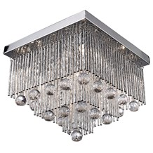 BEATRIX  5LT SQUARE CEILING FLUSH, CHROME WITH TWIST TUBES AND CLEAR CRYSTAL BAL