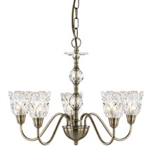 MONARCH - 5LT CEILING, ANTIQUE BRASS, CLEAR GLASS
