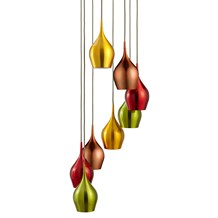 VIBRANT 8LT MULTI-DROP COLOURED (RED, GREEN, GOLD, COPPER) SHADES