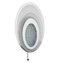 WALL LIGHT LED  OVAL LAYERED WB, CHROME, FROSTED GLASS