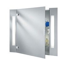 BATHROOM MIRROR LIGHT - ILLUMINATED MIRROR GLASS CABINET - 2LT SHAVER SOCKET