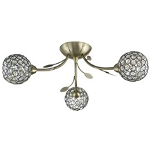 BELLIS II - 3LT CEILING SEMI-FLUSH, ANTIQUE BRASS, CLEAR GLASS DECO SHADE