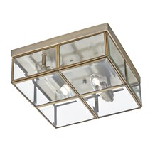 FLUSH - 2LT FLUSH BOX, ANTIQUE BRASS WITH CLEAR BEVELLED GLASS PANELS