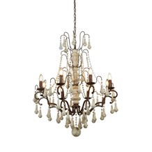 DAUPHIN  8LT PENDANT, RUSTIC BROWN, WEATHERED WOOD