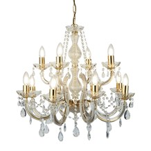 MARIE THERESE - 12LT CHANDELIER, POLISHED BRASS, CLEAR CRYSTAL GLASS