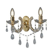 MARIE THERESE - 2LT WALL BRACKET, POLISHED BRASS, CLEAR CRYSTAL GLASS