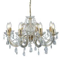 MARIE THERESE - 8LT CEILING, POLISHED BRASS, CLEAR CRYSTAL GLASS