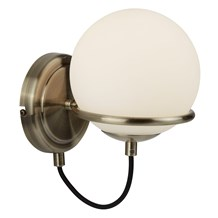 SPHERE 1LT WALL BRACKET, ANTIQUE BRASS, BLACK BRAIDED CABLE, OPAL WHITE GLASS SH