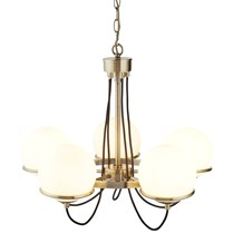 SPHERE 5LT CEILING, ANTIQUE BRASS, BLACK BRAIDED CABLE, OPAL WHITE GLASS SHADES