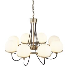 SPHERE 8LT CEILING, ANTIQUE BRASS, BLACK BRAIDED CABLE, OPAL WHITE GLASS SHADES