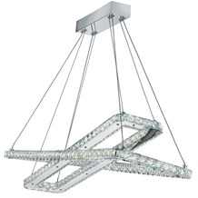 CLOVER - LED CEILING (2 x RECTANGLE), CHROME, CLEAR CRYSTAL GLASS