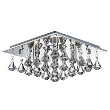 HANNA - 4LT SQUARE FLUSH CEILING, CHROME, CLEAR CRYSTAL PYRAMID DROPS
