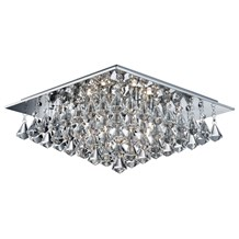 HANNA - 6LT SQUARE FLUSH CEILING, CHROME, CLEAR CRYSTAL PYRAMID DROPS