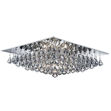 HANNA - 8LT SQUARE FLUSH CEILING, CHROME, CLEAR CRYSTAL PYRAMID DROPS